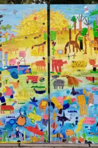 Animal Habitat Mural displayed on the wall
