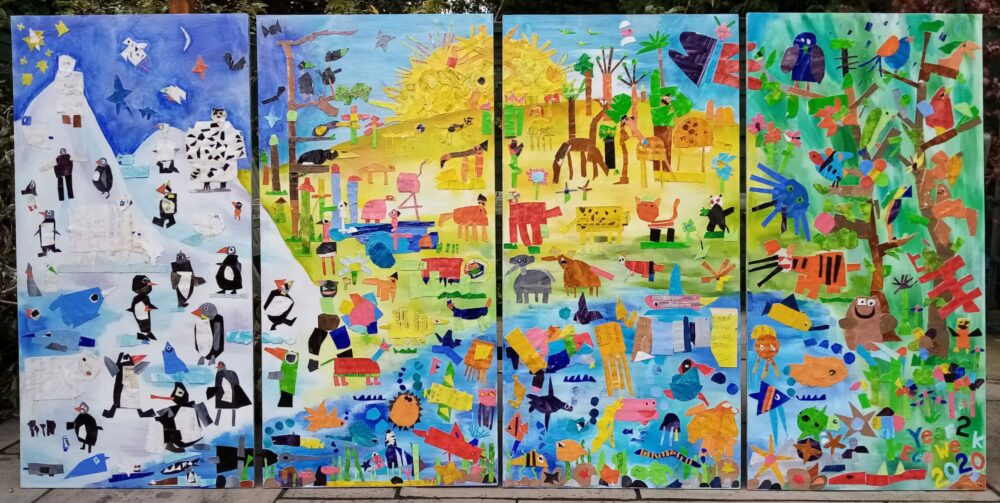 Animal Habitat Mural displayed on the wall