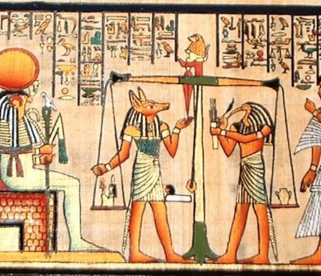 Egyptians weighing the heart after death