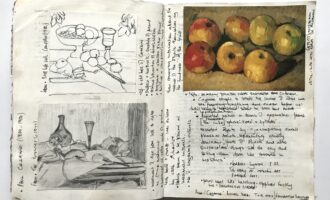 sketchbook from found book