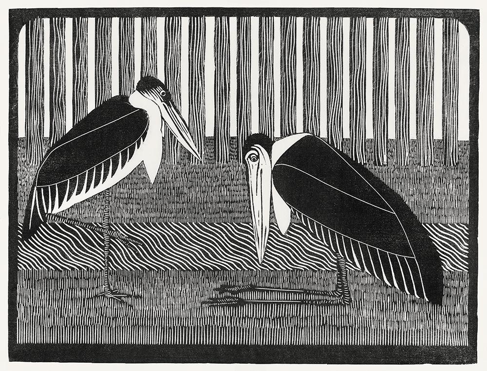 Two maraboos (Twee maraboes) (c.1914) by Samuel Jessurun de Mesquita. Original from The Rijksmuseum. Digitally enhanced by rawpixel. CC0