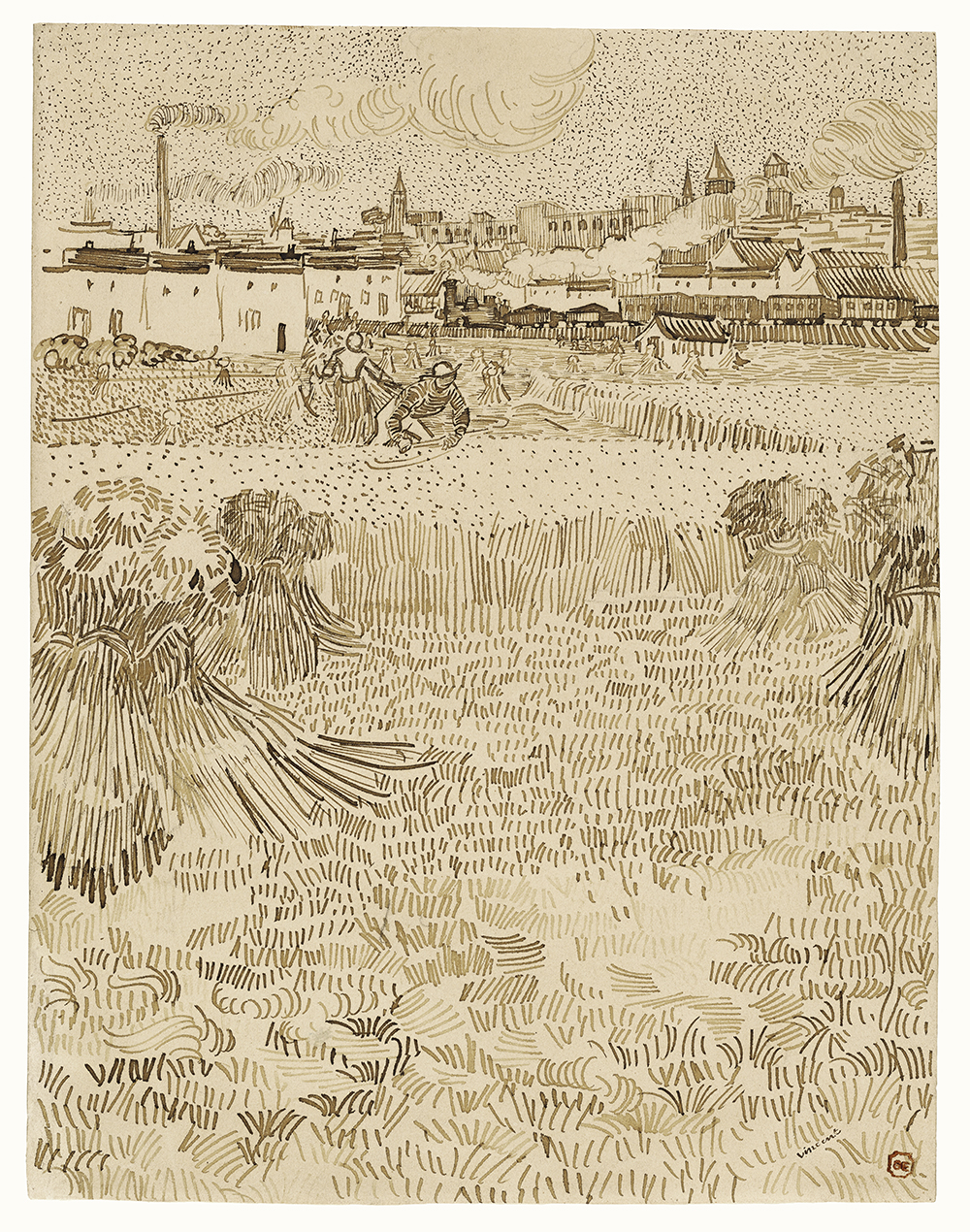 Arles: View from the Wheatfields (1888) by Vincent Van Gogh. Original from the J. Paul Getty Museum. CC0