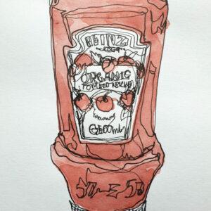 Continuous line drawing ketchup Rowan Briggs Smith