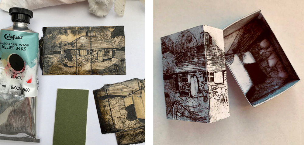 Using old cardboard packaging as printing plate...