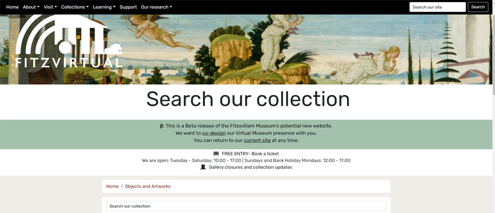 A screenshot from The Fitzwilliam Collections website