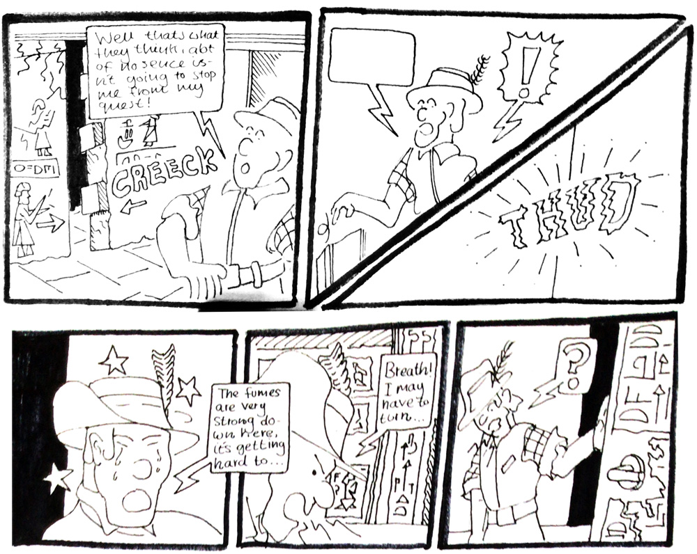 A participant's comic, inspired by an Egyptian bust from The Fitzwilliam Museum's collections.
