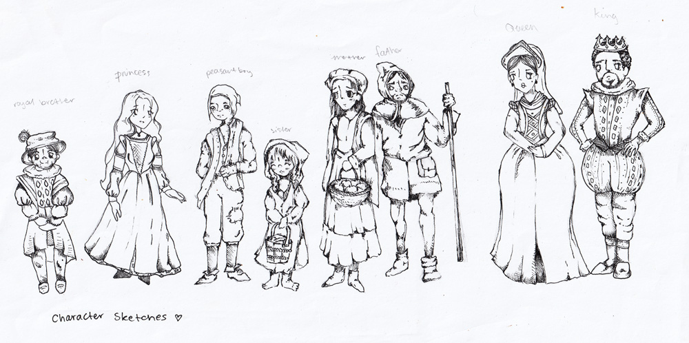 Character designs created by a participant, for a comic inspired by a medieval coin (half siliqua) from The Fitzwilliam Museum's collections.