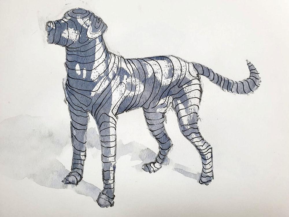 Contour and wax resist dog, Rowan Briggs Smith