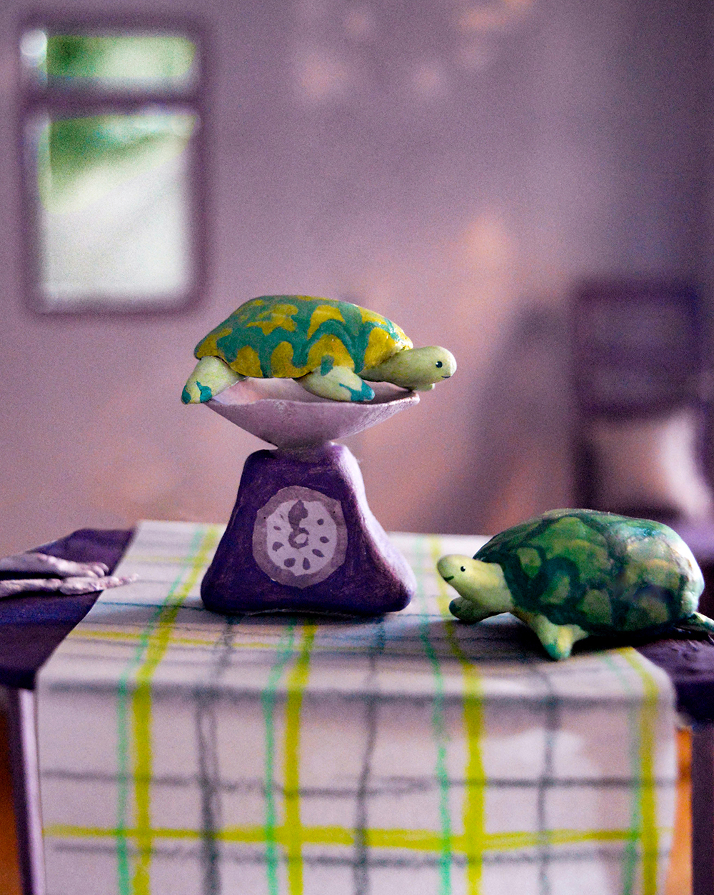 Tortoise On Scales for Esio Trot by Rosie Hurley