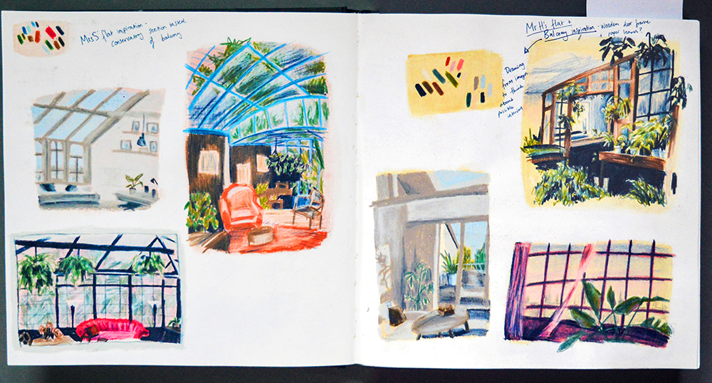 Sketchbook Page of Room Compositions on Colour by Rosie Hurley