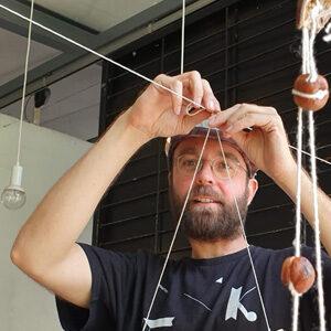 Mostyn holding a sculpture workshop