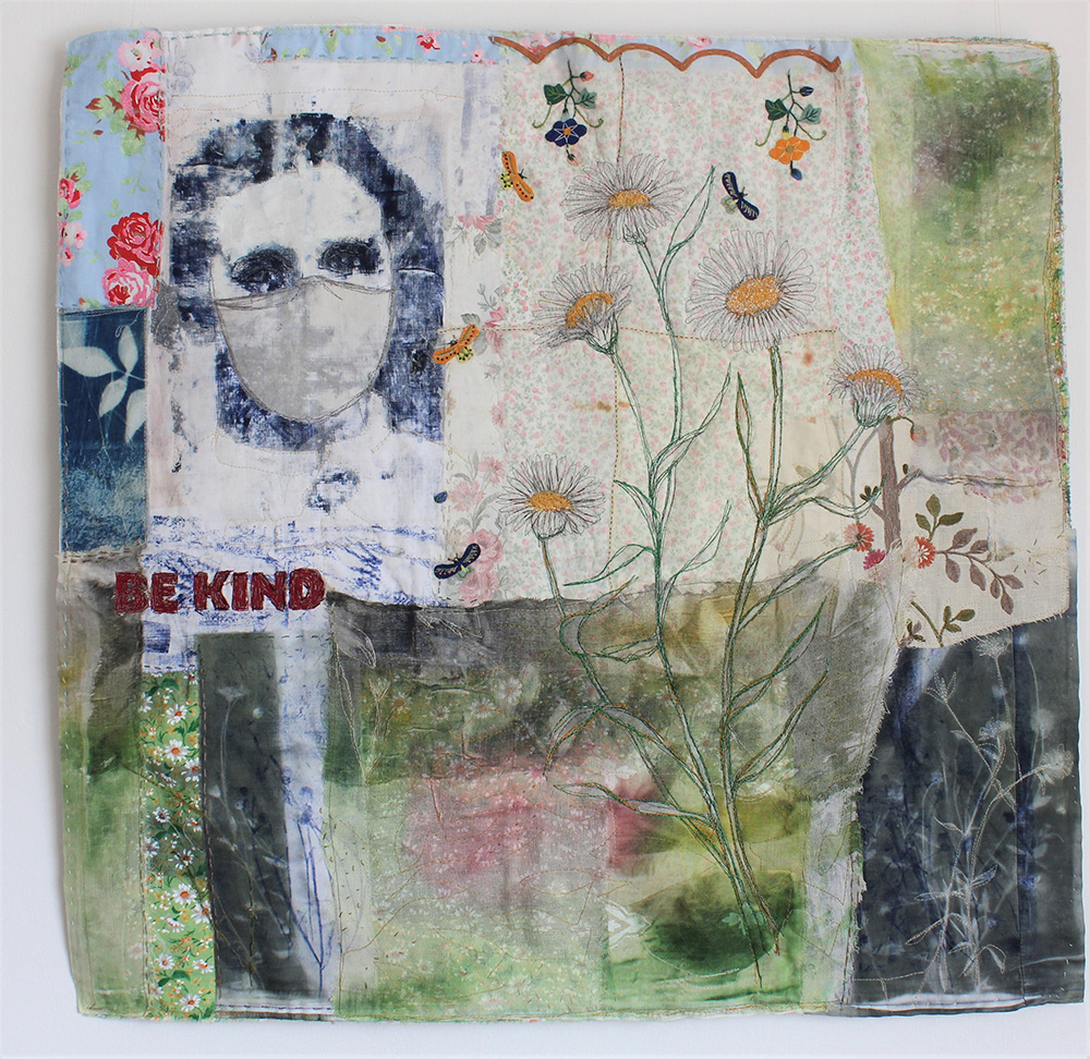 Be Kind Textile Piece by Cas Holmes
