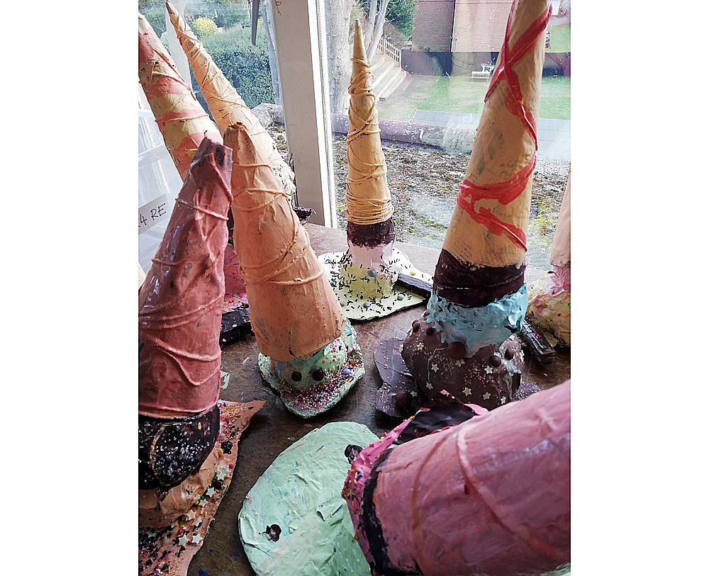 Ice-cream cone shaped sculptures by Julia Rigby