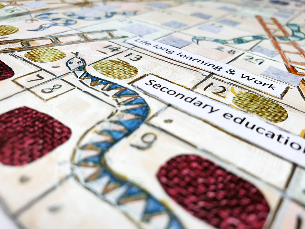 snakes and ladders board for art educators