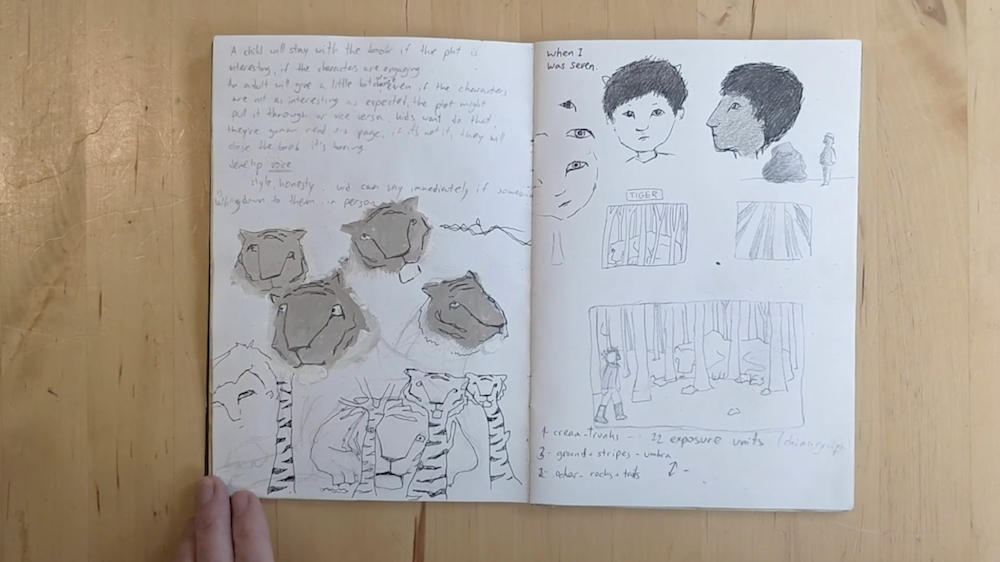 Sketches of Tigers and a Boy by Inbal Leitner