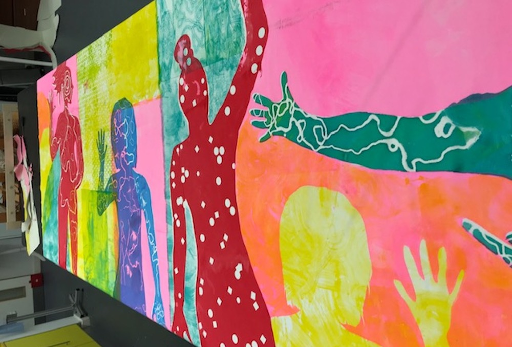 Screen Printed Banner Progress At Woking College By Sarah Pimenta