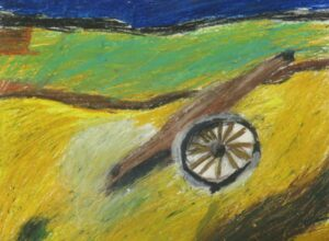 A depiction of a first world war canon in oil pastel